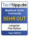 Flat Option erhält Tarifsiegel von Tariftipp.de