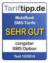 SMS Option erhält Tarifsiegel von Tariftipp.de